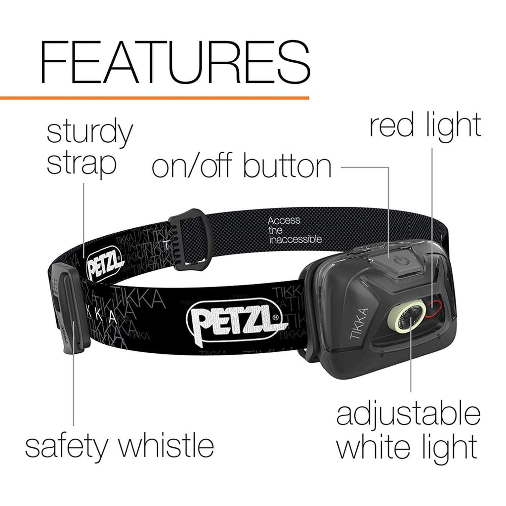 PETZL TIKKA Tactical LED Headlamp Black Features