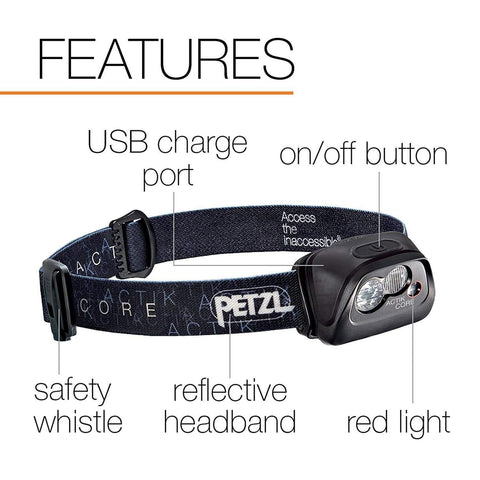 Image of PETZL ACTIK CORE Features, USB Charge Port, Safety Whistle, Red Light