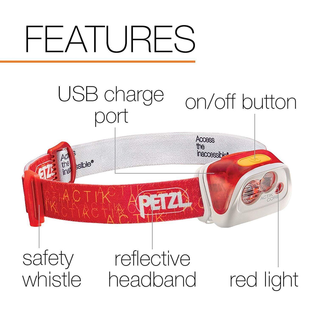 PETZL ACTIK CORE Red, On/Off Button, Reflective Headband