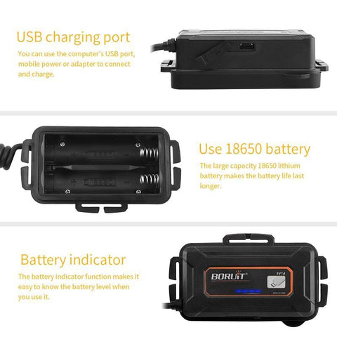 Image of BORUIT B10 Headlamp Battery Options, USB charging ports, 18650 battery