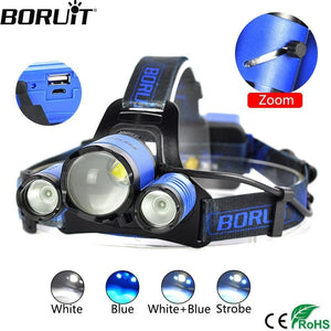 Boruit B22 White, Blue and White CREE LED Headlamp