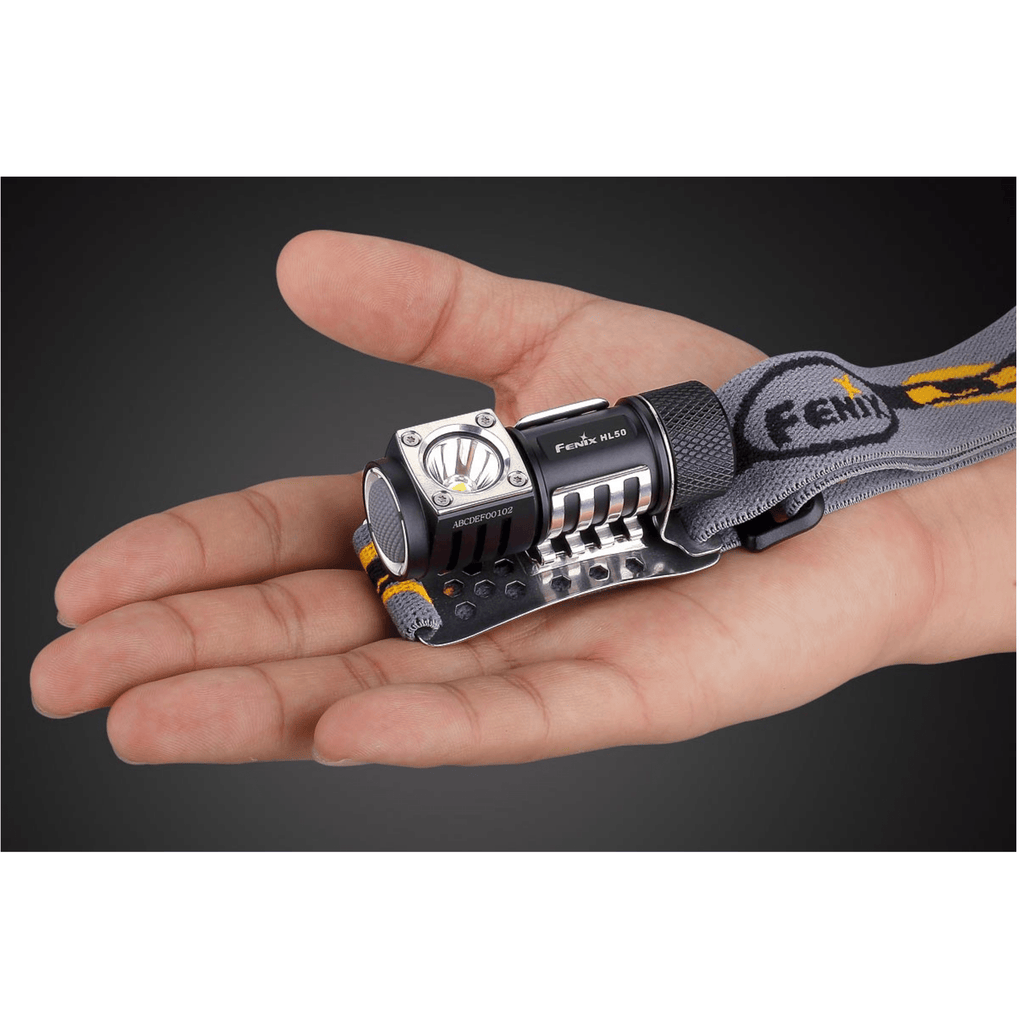 Fenix HL50 Headlamp in the palm of a hand
