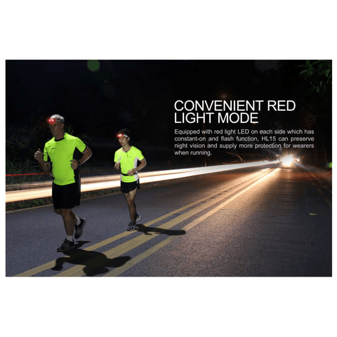 Image of Fenix HL15 Headlamp used by 2 runners with convenient red light mode on