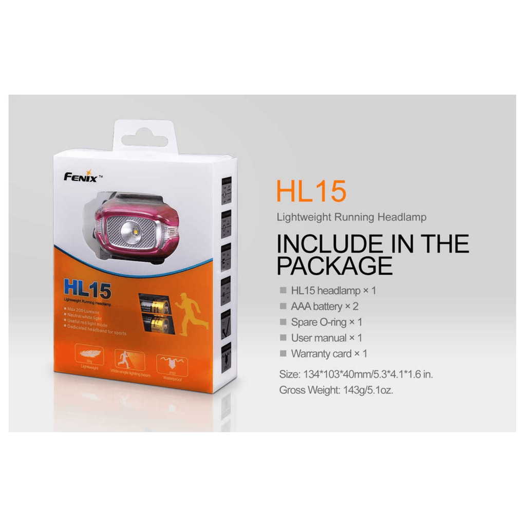 Fenix HL15 Headlamp Package Inclusions