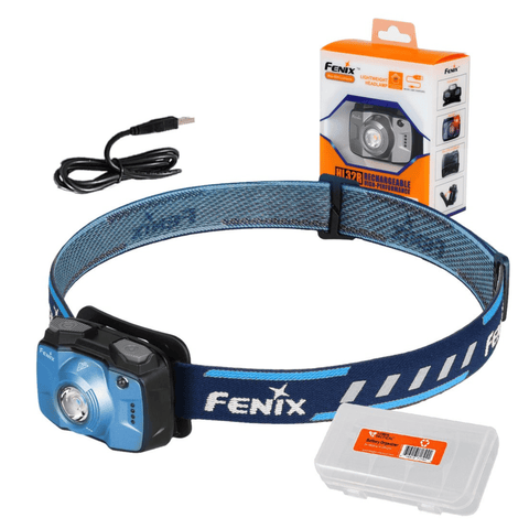 Image of Fenix HL32R Blue Headlamp Packaging with box
