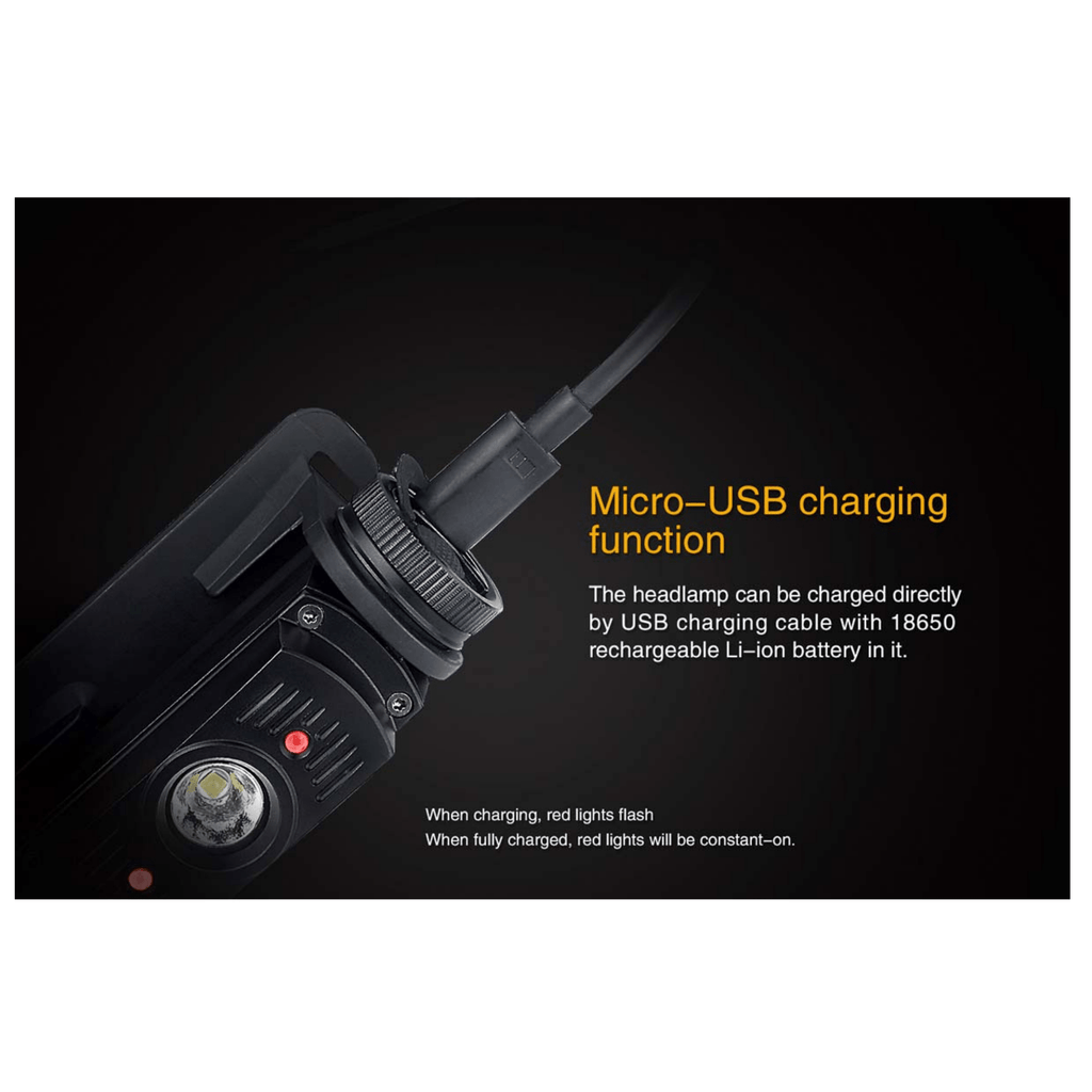 Fenix HL60R Headlamp Micro USB charging function