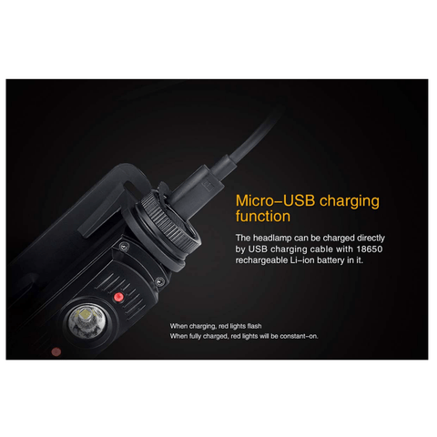 Image of Fenix HL60R Headlamp Micro USB charging function
