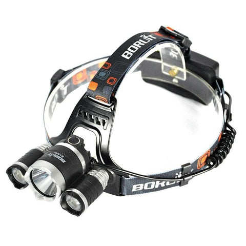 Image of Boruit RJ-3000 Rechargeable Red CREE LED Headlamp Top View