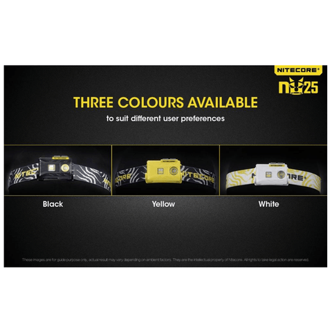 Image of Nitecore NU25 Headlamp in 3 colors: Black, Yellow and White