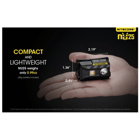 Image of Nitecore NU25 Compact and Lightweight Headlamp in a palm of a hand