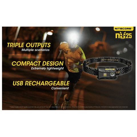Nitecore NU25 Headlamp Triple Outputs, Compact Design, USB Rechargeable