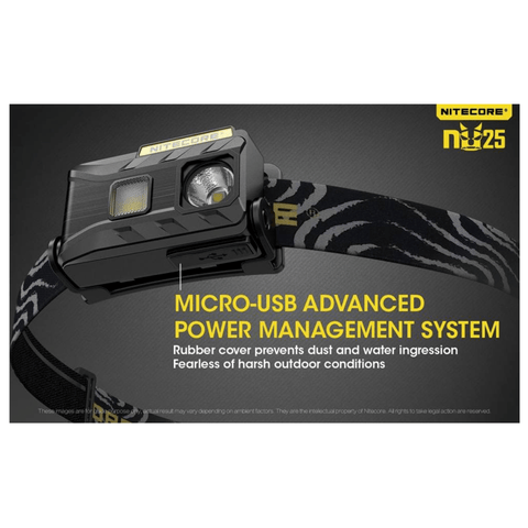 Nitecore NU25 Headlamp Micro USB Advanced Power Management System