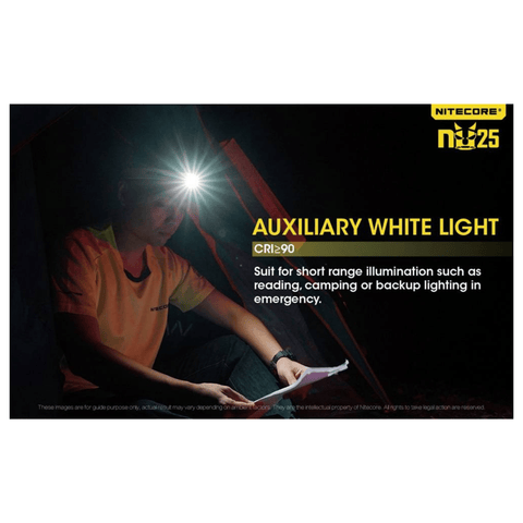 Nitecore NU25 Headlamp Auxiliary White Light