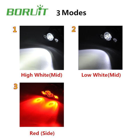 Boruit RJ3000 Headlamp High White, Low White, Red Light