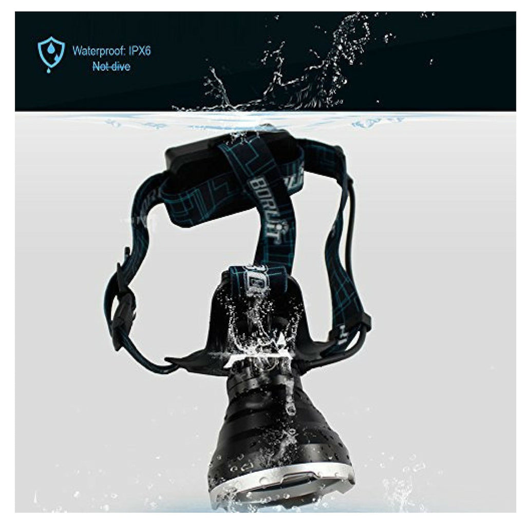 BORUIT B10 UltraBright Rechargeable Waterproof Headlamp