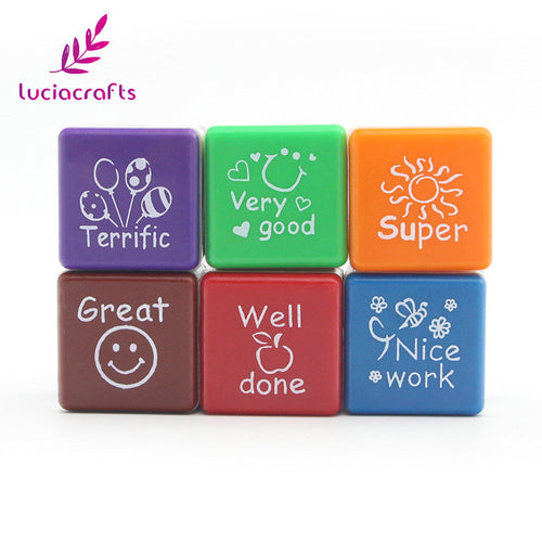 Lucia crafts 6pcs/lot 27*27*24mm ABS Square Shaped Cute Stamps Schools Teacher Comments DIY Marking Supplies 074004038