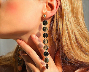 Round Earrings Long Fringed Earrings Female Simple Ear Chain