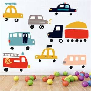 Cartoon Car Wall Sticker For Kids Rooms Kindergarten Classroom Wall Decals Children Bedroom Vinyl Mural Art Poster Muraux