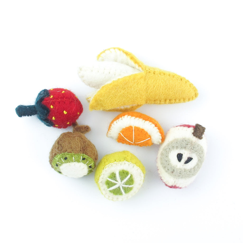 PapooseToys felt play food - cut fruit set
