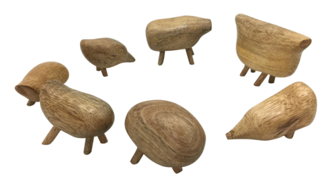 PapooseToys Wooden Pebble Animals