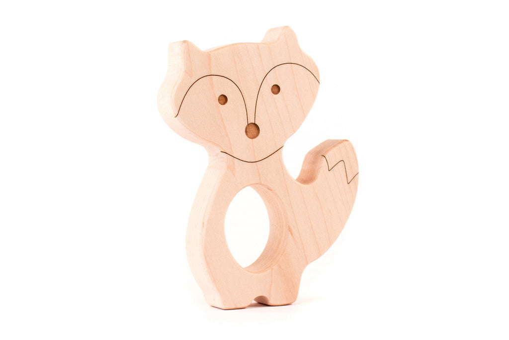 Fox wooden teether. Made from sustainable maple wood (does not splinter).
