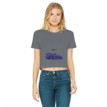 Midnight Purple R34 Classic Women's Cropped Raw Edge T-Shirt