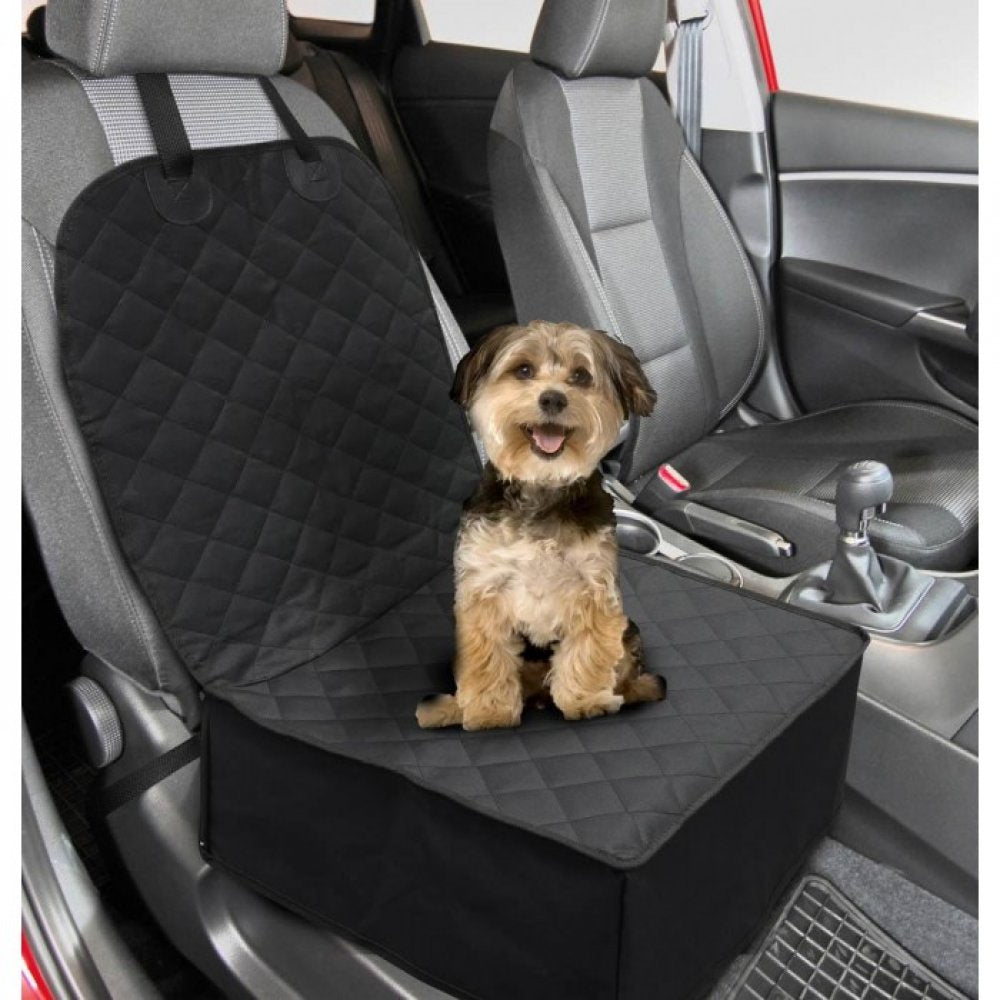 Washable 2 In 1 Front Seat Pet Cover.  Keeps your car clean. No more pet hair or dander! Creates a table flat surface. Solves that crazy passenger seat angle!  Black only. But black goes with everything! Or you can always cover it up!