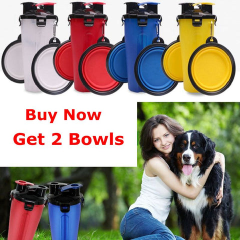 Image of Pet Bottle Outdoor New Bowl For Dogs And Cats Portable Feeder Fold able Water Bottle Dog Bowl Travel Walking Food Drinking 2in1