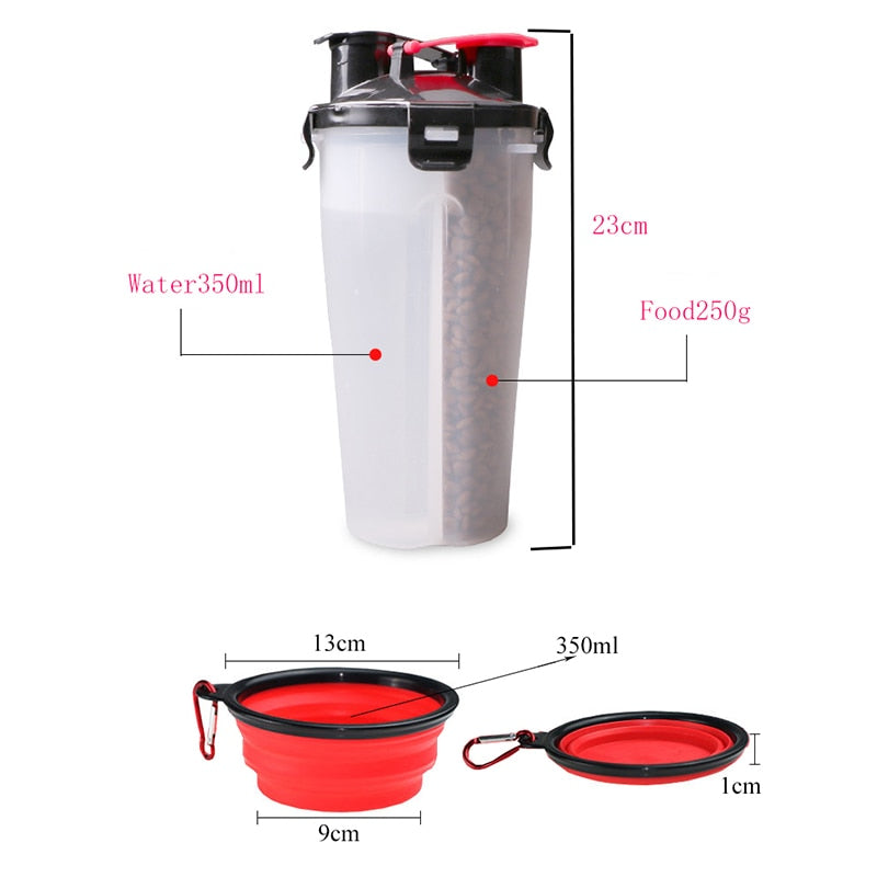 Pet Feeder Dog Water Bottle Collapsible Dog 2 in 1 Bottle Folding Bowl Travel Outdoor Food Water Drinking Fountain For Cat Dog