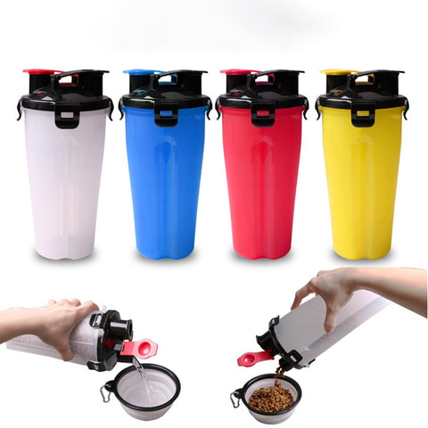 Image of Pet Feeder Dog Water Bottle Collapsible Dog 2 in 1 Bottle Folding Bowl Travel Outdoor Food Water Drinking Fountain For Cat Dog