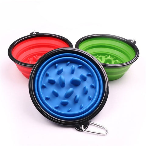 Image of Pet Travel Bowl with Buckle Portable Foldable Cat Dog Food Water Feeding Outdoor Bowl Anti Choke Design