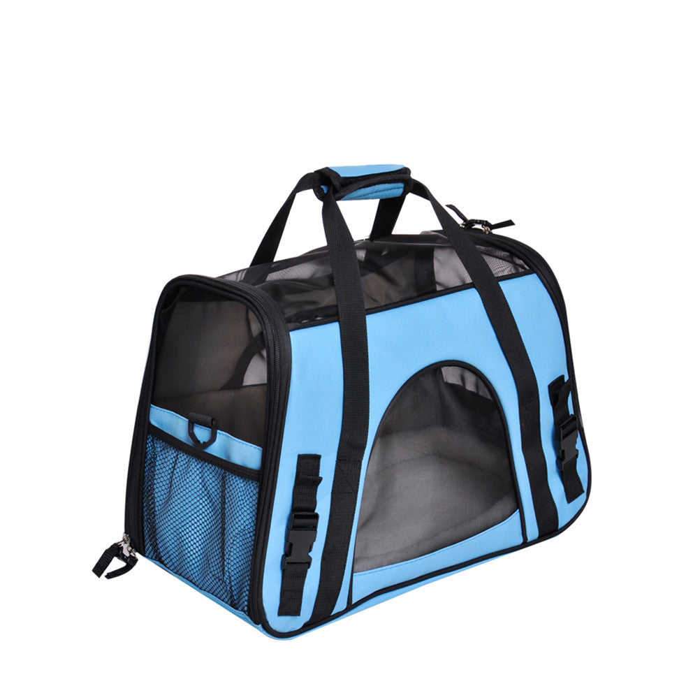 Pet Carrier Dog Carrier Pet Backpack Bag Portable Travel Bag Pet Dog Front Bag Head Out Mesh Backpack (Wathet)