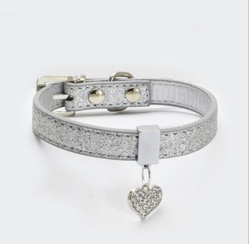 Pet Heart Diamond Pendant PU Collar,Peach heart pet collar