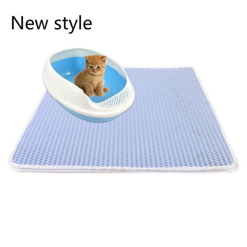 Image of Pets Cats Litter Mat Bed House Floor Portable Double Layer EVA Leather Waterproof Bottom Trapper Home Mat Wearable Cat Products