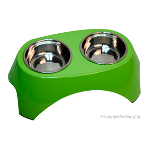 Bowl Melamine Stainless Steel Round Double W Table 2 X 350ml Lime Green