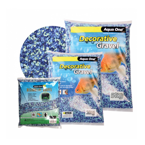 Decorative Gravel 2kg Mixed Aqua Blue 7mm