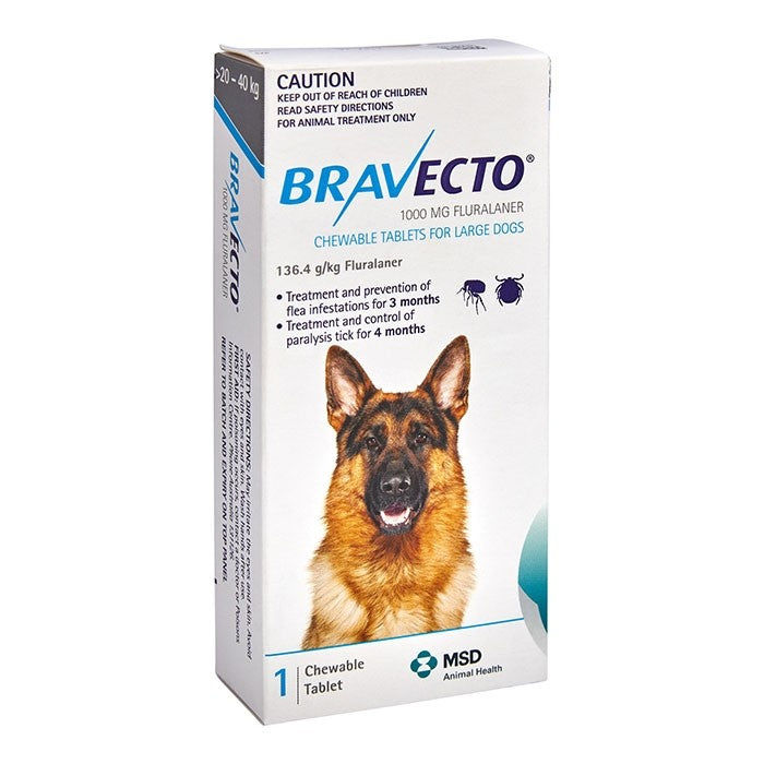 Bravecto Large Dog Blue 20-40Kg 1Pk