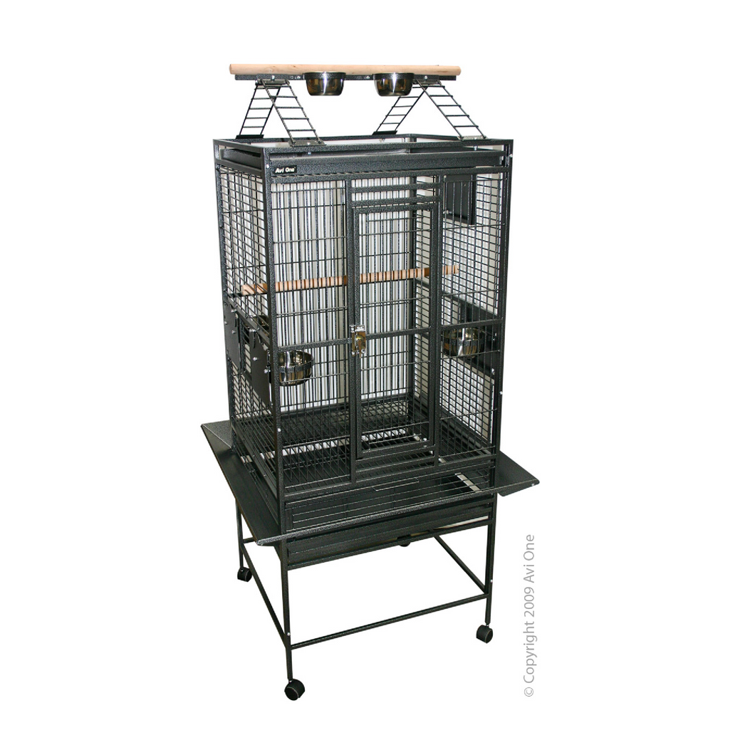 Parrot Cage with Play Pen 20mm Cage 76.5x71.5x158cm Sv Bk
