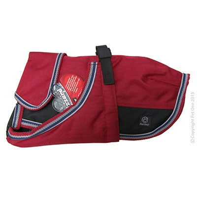 Dog Coat Blizzard 25cm Heavy Duty Water Proof Reflective Red