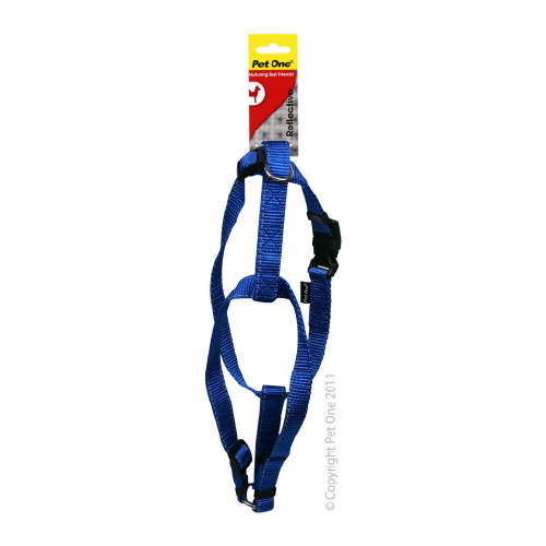 Harness Nylon Refl Adj 23 To 35cm 15mm Blue
