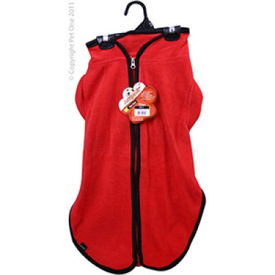Dog Coat JumpSuit 40cm Heavy Fleece Zip Up Red