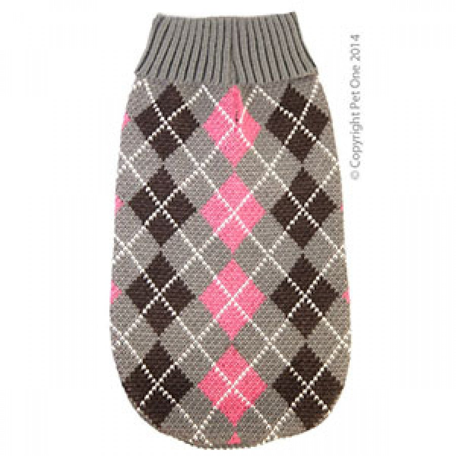Dog Coat Komfyknit Jumper Check 30cm Grey Pink