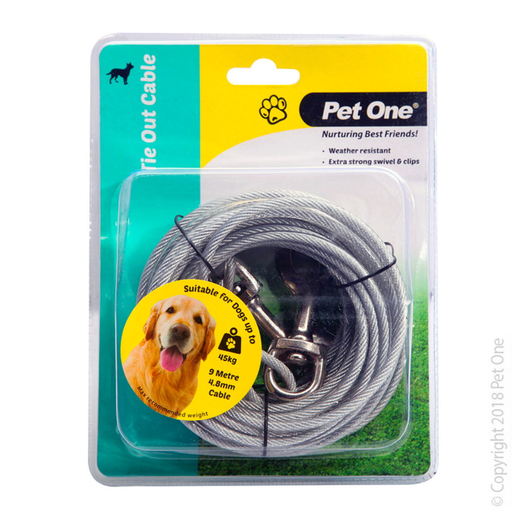Tie Out Cable 9m x 4.8mm Suit Dogs Up To 45kg
