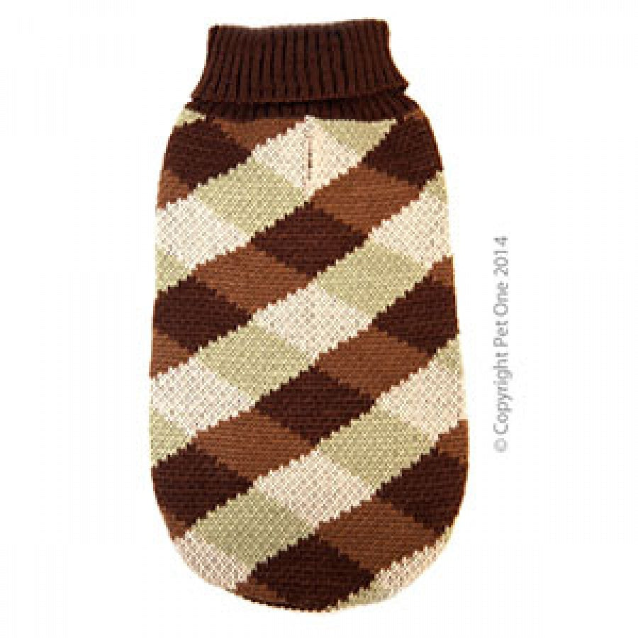 Dog Coat Komfyknit Jumper Check 30cm Brown Green