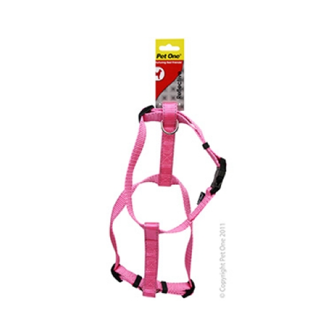 Harness Nylon Reflective Adjustable 35 to 50cm 20mm Pink