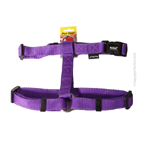 Harness Nylon Reflective Adjustable 40 To 65cm 25mm Purple