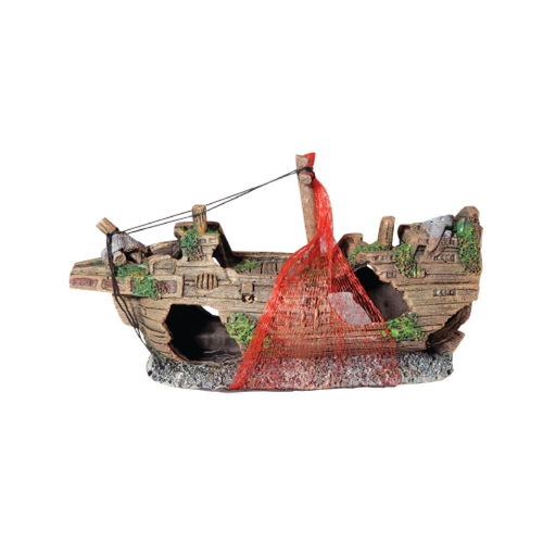 Ornament Shipwreck With Net Small 23.5x8x11.5cm