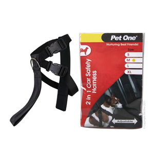 Harness Nylon Two In One Car Safety M 45 To 60cm 20mm Bk