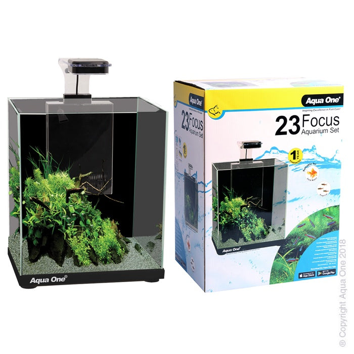 Focus 23 Glass Aquarium 23L 30L X 22D X 41cm H (Black)