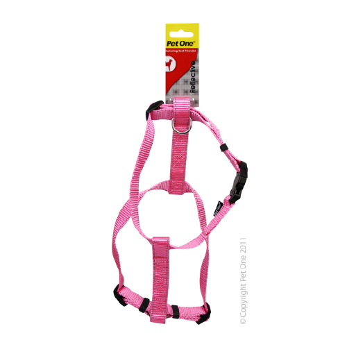 Harness Nylon Refl Adj 23 To 35cm 15mm Pink